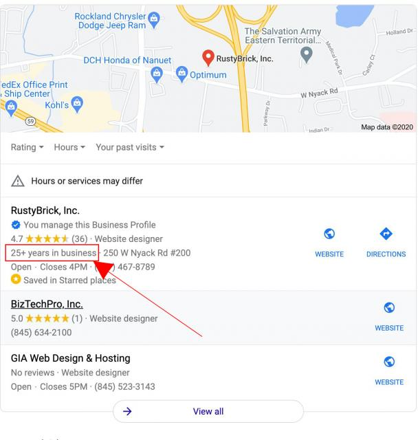 Google показывает, сколько лет компания работает на рынке