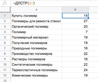 ДЛСТР – считаем длину текста в ячейке