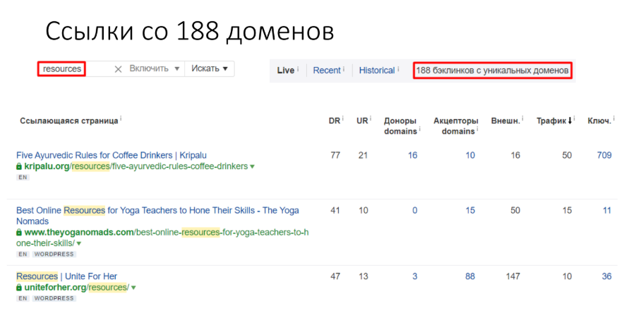 Ссылки со 188 доменов
