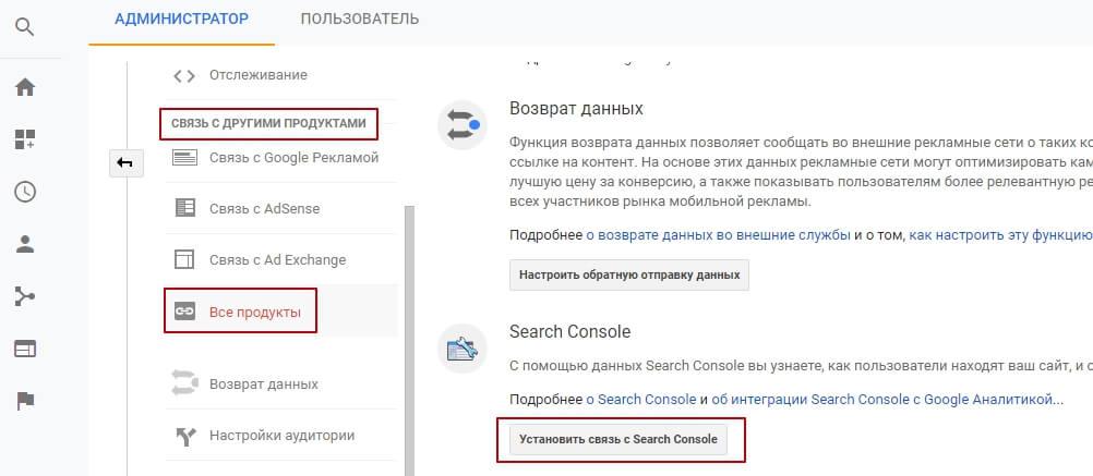 Связь Google Аналитики с другими сервисами Google важна
