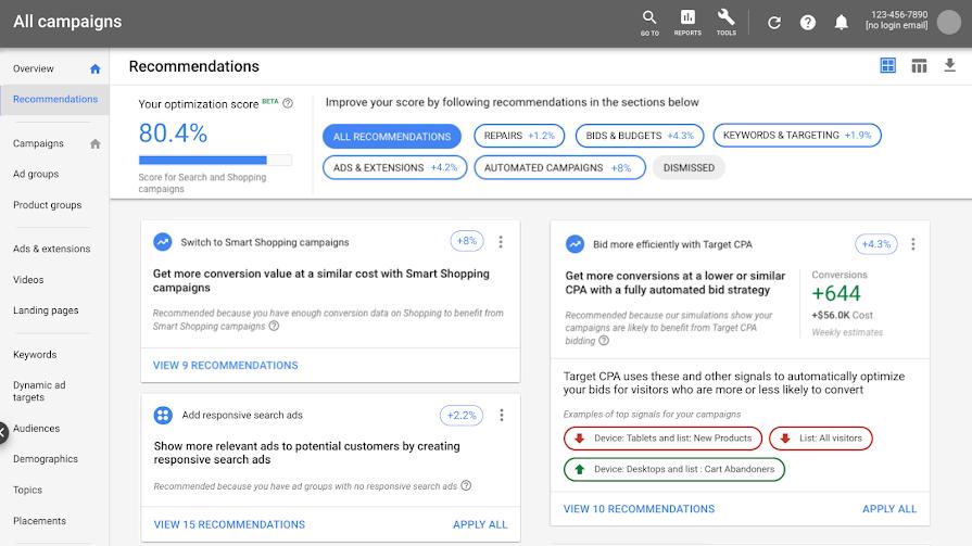 Показатель оптимизации Google Ads начал оценивать торговые кампании