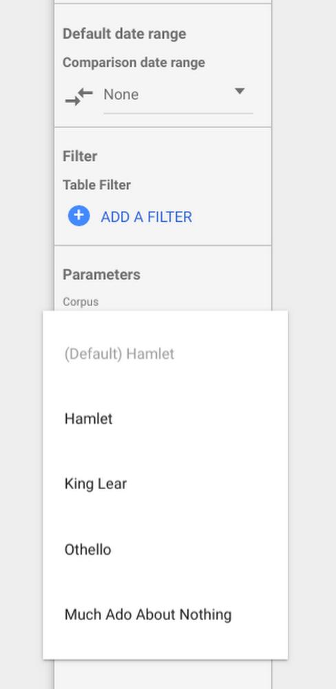 Google Data Studio позволил создавать параметризованные запросы