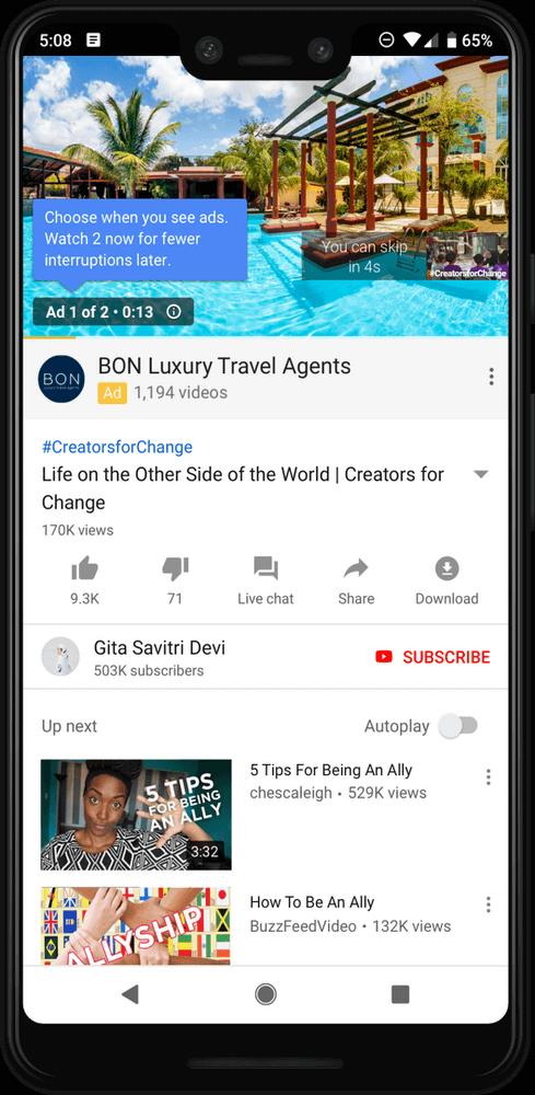 YouTube тестирует новый метод показа рекламы в YouTube