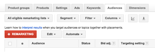 Google AdWords представил списки ремаркетинга для торговых кампаний