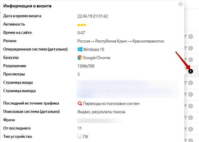 Подробная информация о визите в Вебвизоре