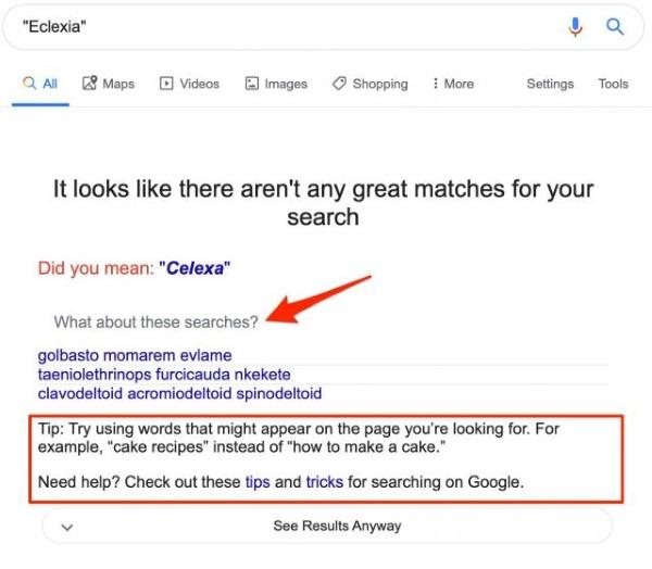 Google дает советы по поиску, когда не может найти результатов по запросу