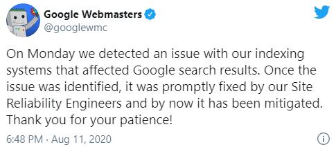 Google объяснил вчерашний шторм в выдаче проблемами с системами индексации