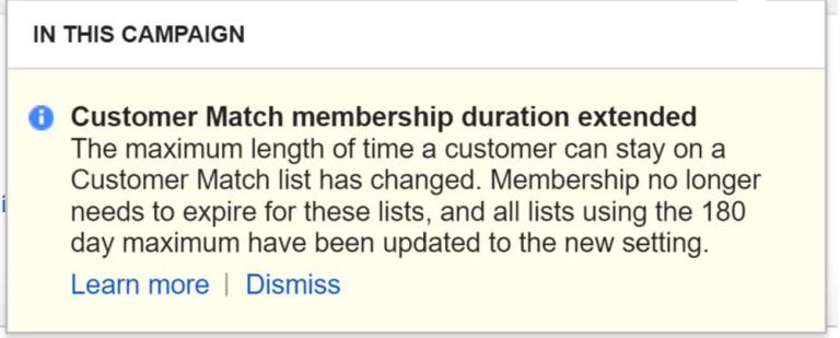 Google снял ограничение по длительности нахождения электронных адресов в Customer Match