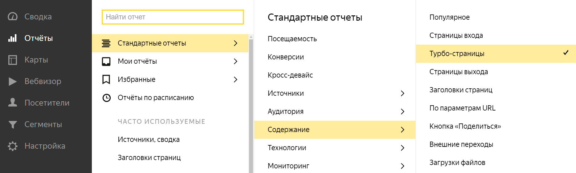 Яндекс.Метрика добавила отчет по Турбо-страницам