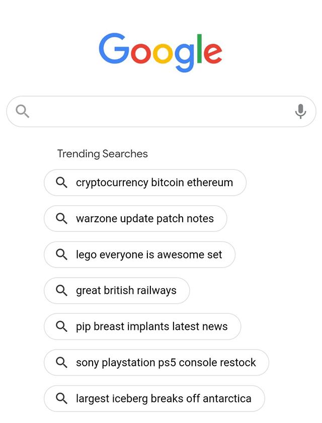 Google тестирует популярные запросы на домашней странице в мобильном поиске
