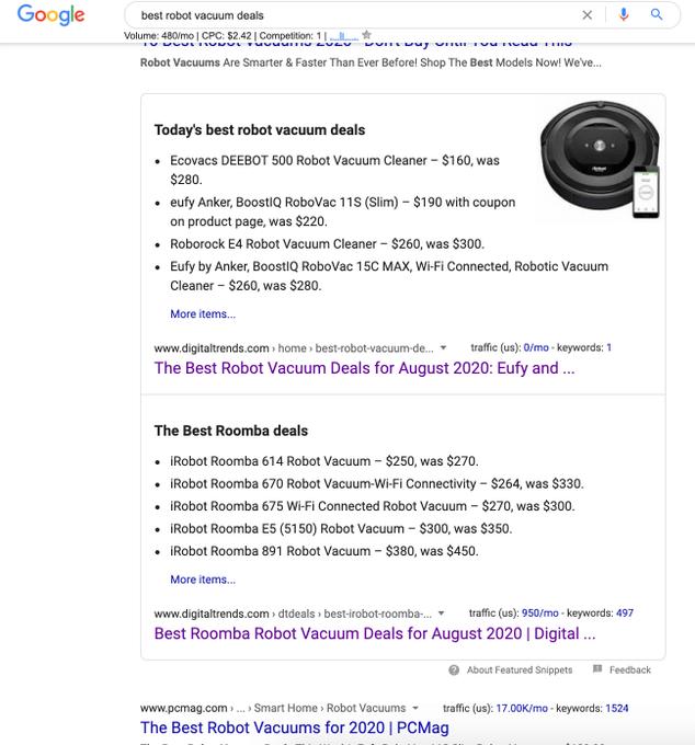 В выдаче Google замечены два блока с ответами с одного домена