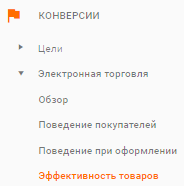Рис.18. Меню отчетов электронной торговли в Google Analytics.png