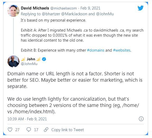 Google: влияет ли длина доменного имени на ранжирование