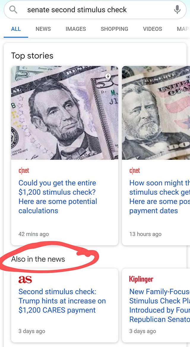 Google тестирует еще один новостной блок под разделом «Главные новости»