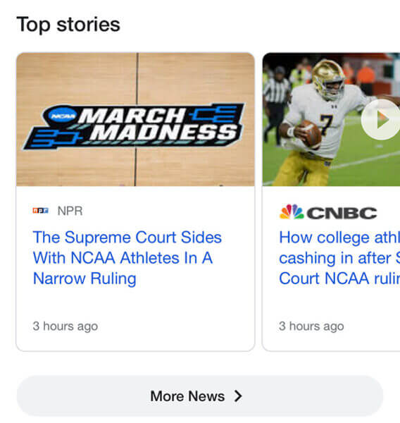 Карусель Главные новости в гугл