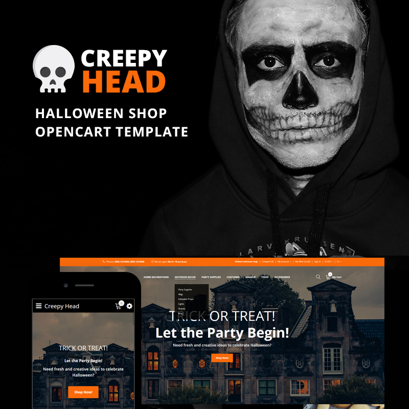 OpenCart шаблон Creepy Head – Halloween Shop