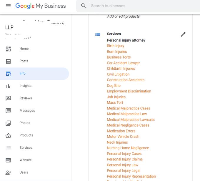 Google My Business автоматически дополняет раздел «Услуги»