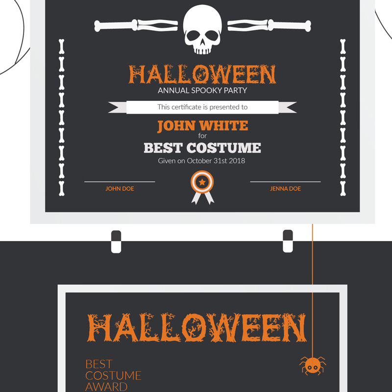 Halloween Best Costume Award Certificate Template