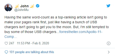 Сотрудник Google Джон Мюллер сообщил, что подсчитывать слова у сайтов в ТОПе бессмысленно
