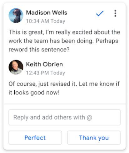 Google запустил быстрые ответы в комментариях Google Docs