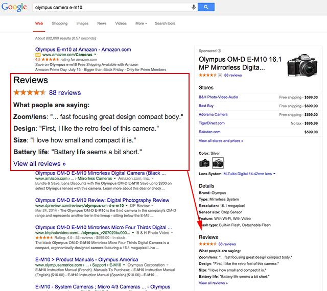 Google отображает отзывы о товарах в выдаче