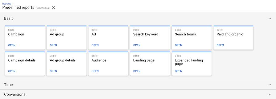 Google Ads добавил в Редактор отчетов два отчета о целевых страницах