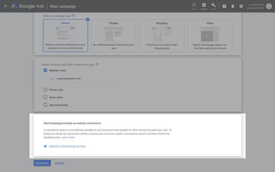 В Google Ads появилось отслеживание конверсий при создании новых кампаний
