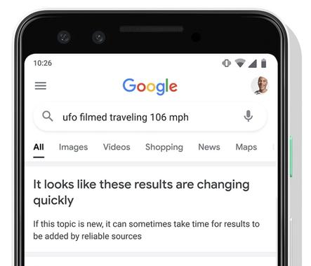 Google начнет уведомлять о недостатке достоверной информации в поиске