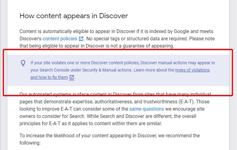 В Google Search Console появятся ручные санкции по контенту в Discover