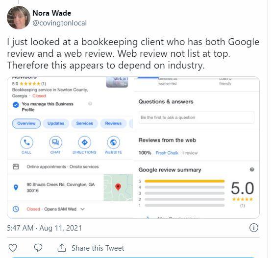 Новое отображение отзывов Google может зависеть от отрасли компании
