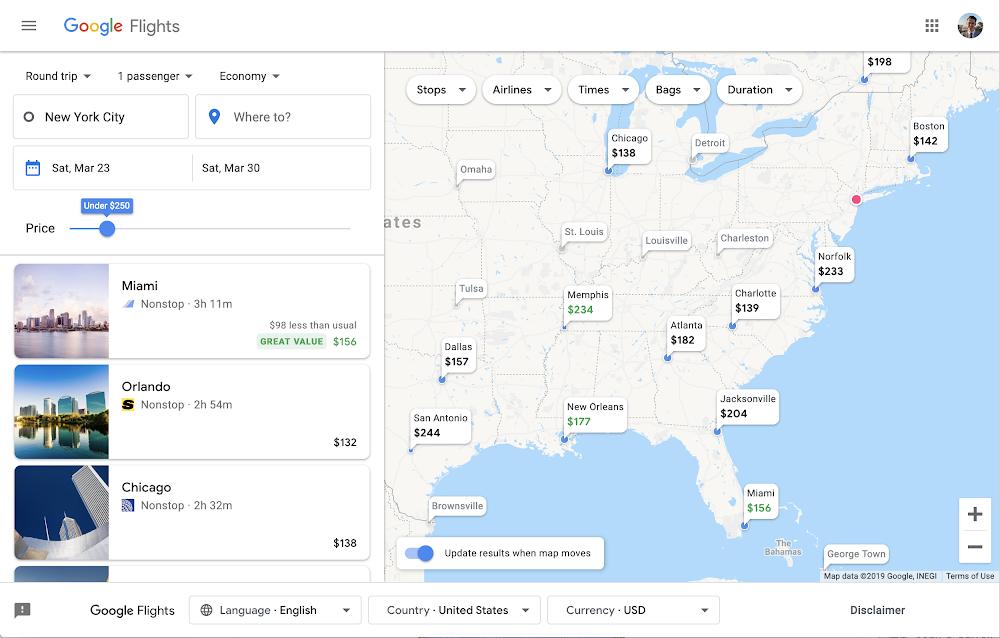 Google обновил поиск по авиабилетам и отелям