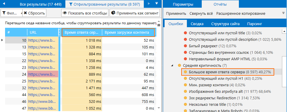 Оценка времени ответа сервера с помощью Netpeak Spider