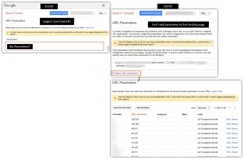 В работе инструмента «Параметры URL» Google Search Console возникли проблемы