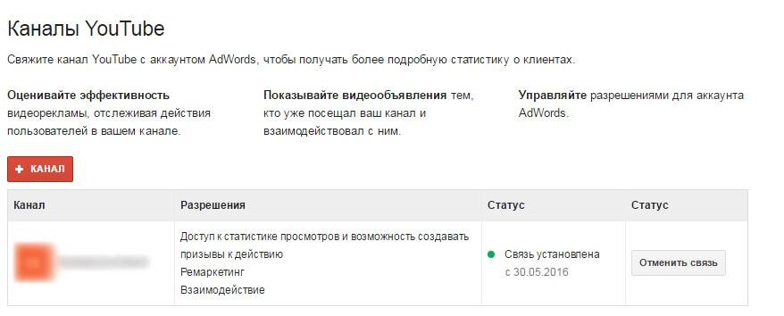 В аккаунте Google AdWords связь будет выглядеть вот так.jpg