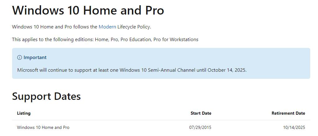 Microsoft прекращает поддержку Windows 10 14 октября 2025 года