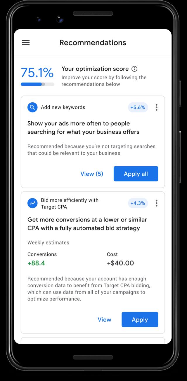В приложении Google Ads стал доступен показатель оптимизации