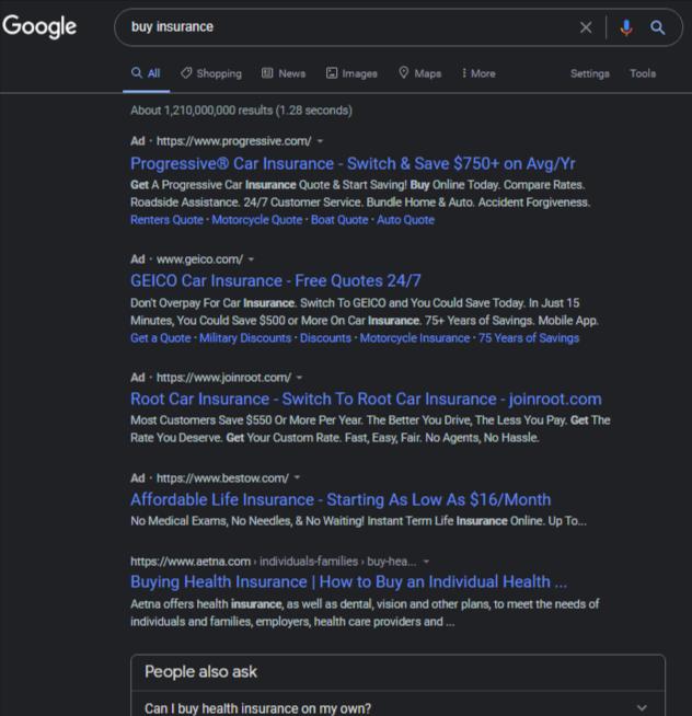 Объявления Google Ads будут менее заметными в темном режиме поиска