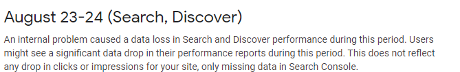 Search Console сообщил о сбое в работе отчета об эффективности
