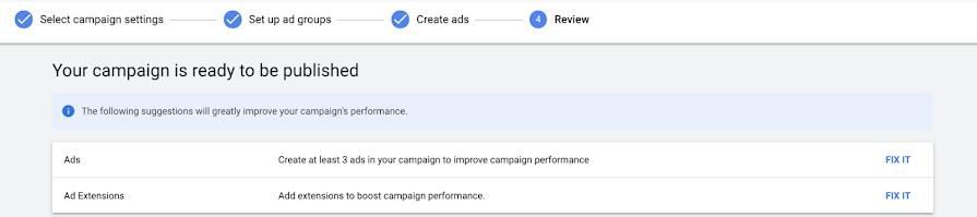 Google Ads будет сообщать об ошибках на этапе создания кампаний