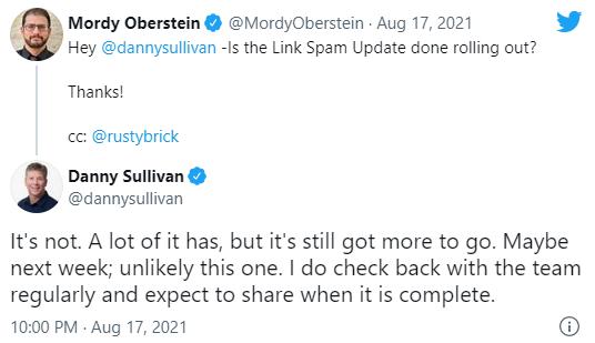 Google: раскатка Link Spam Update еще продолжается