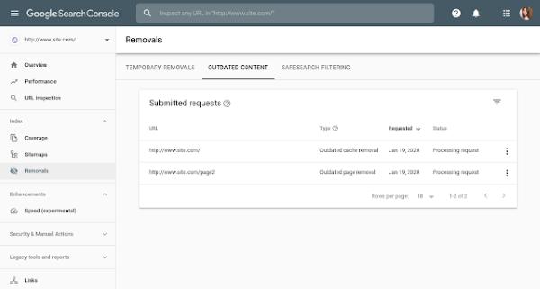 Просмотр устаревших запросов на удаление контента в Google Search Console