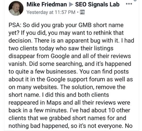 Короткие названия могут привести к блокировке компаний в Google Мой бизнес
