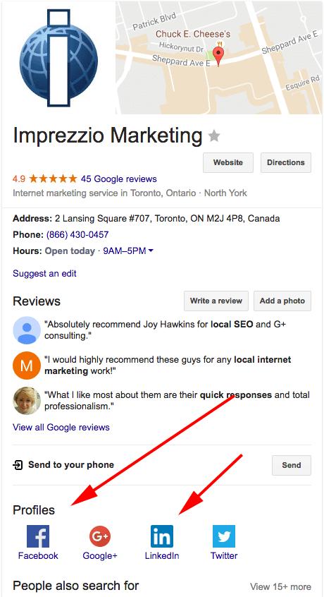 В локальной выдаче Сети знаний Google появились профили и иконки соцсетей