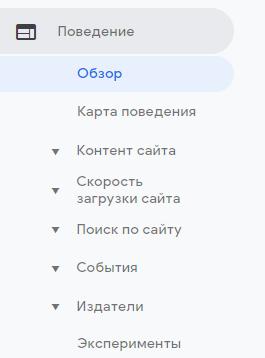 """Раздел """"Обзор"""" в блоке """"Поведение"""" в Google Analytics"""