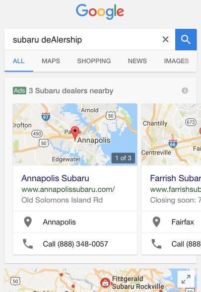 Google тестирует новые объявления в локальной выдаче