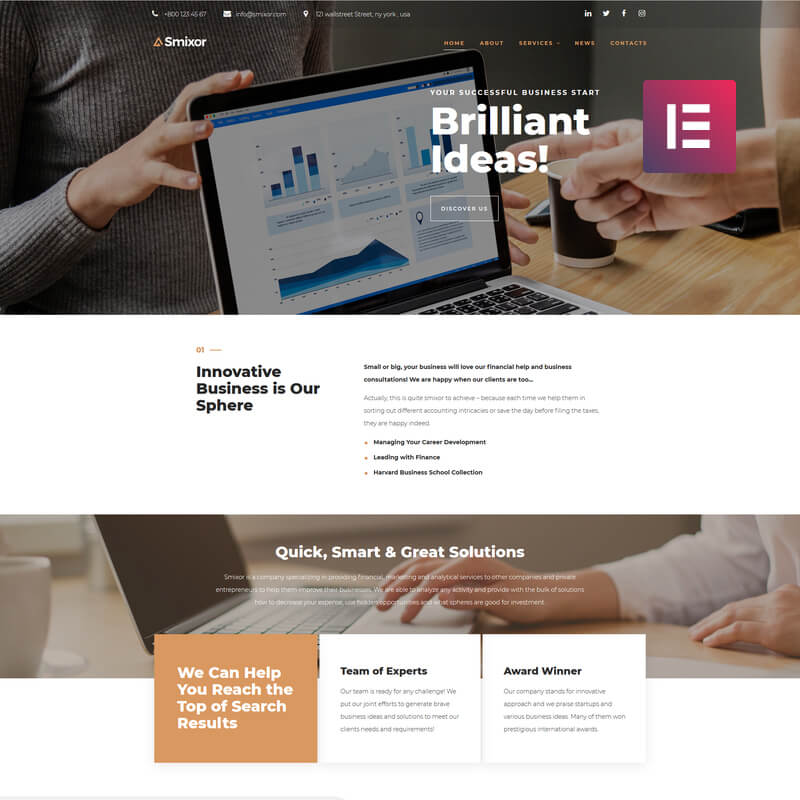 WordPress-шаблон Smixor – Business Multipurpose Modern Elementor