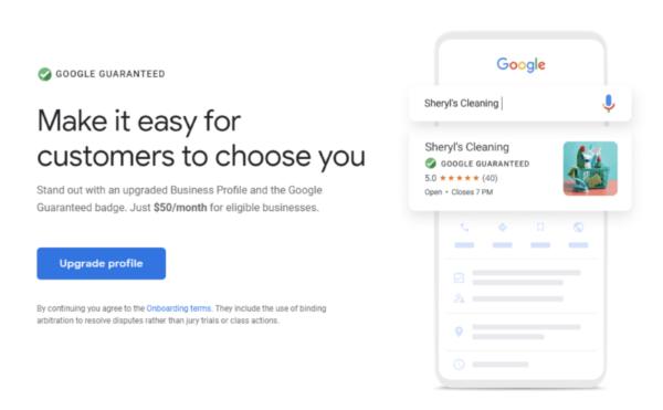 Google предлагает бизнес-профилям значок Google Guaranteed за $50 в месяц