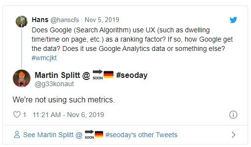 Google: мы не используем поведенческие метрики для ранжирования