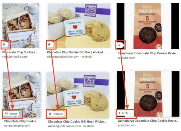 Google will show special labels for products, recipes and videos in the image search