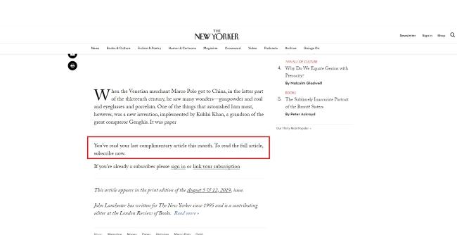 Новая версия Chrome позволяет бесплатно читать статьи, скрытые пейволлами